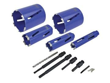 Diamond Core Drill Kit & Case Set of 11